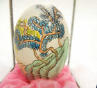 Chinese Hand Painted Egg in Glass Display Case Trees Mountain Lake Scene Vintage