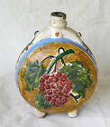 ANTIQUE Europe Handcrafted REDWARE Glazed Ceramic Pottery WINE JUG CANTEEN FLASK