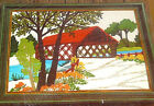 Crewel Embroidery Kit Covered Bridge Vintage Pauline Dehnam 12X9 Linen