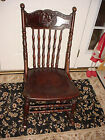 Antique Wood Spindle Back Victorian Era North Wind Man in Mountain Rocking Chair