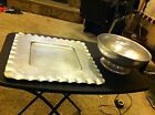 Everlast WOW Square Tray & Fruit bowl signed Hand hammered Forged Aluminum large