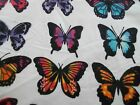 x 42 Snuggle Flannel Butterfly Stripe White Black Pink Blue Lila100 Cotton BTY