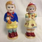 Vintage Boy Girl  ceramic salt and pepper shakers hand painted made in japan