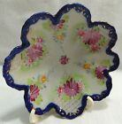 Early FLOWERS & WEBS Scalloped Bowl HandPainted Moriage NIPPON Cobalt Flow Blue