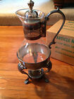 WM Rogers - Vintage Silverplated Holloware Glass Carafe - 9 Cup w Candle Warmer