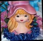 AUTHENTIC INARCO TEEN LG 6 HEADVASE LADY JAPAN HEAD VASE PINK HAT VTG GIRL EXC!