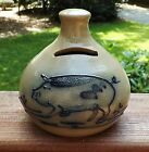 Maple City Pottery Hand Made USA 1989 Monmouth IL Pig Bank Blue Decorated