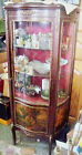 French  Antique Vitrine Curio Cabinet, Hand Painted Vernis Martin Finish metal t