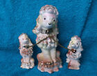 Betson Hand Painted Porcelain Pink Poodles On A Chain Vintage