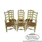 Baker Vintage Set of 6 Country French Rush Seat Ladder Back Dining Chairs