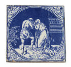 Minton Hollins Antique Tile - Blue & White Design - Picture 2 Figures Whispering