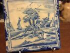 18TH CENTURY ENGLISH DELFT TILE - SHEEP HERDER AND BOATS