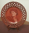 antique hand painted female portrait decorative collector plate signed EHD 1885