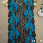 1Y Blue Black Floral Stretch Lace Fabric DIY Wedding Trim Doll Dress L2411