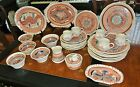 32Pc Artist Signed Southwestern Pottery Dinner ware Set Plate Creamer Sugar Bowl