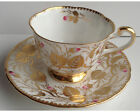 Fancy Royal Chelsea Heavy Gold Hand Painted Pink Rose Bud Cup and Saucer