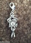 Cuckoo Clock Antiqued Silver Charm Bookmark Bracelet Scrapbooking 1 + dangle