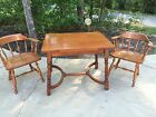 Vintage Ethan Allen Captains Chairs (2) & Draw Leaf English Style Pub/Game Table