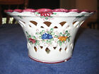 HAND MADE IN ITALY ITALIAN FLORAL CERAMIC GLAZE CUT-OUT FLOWER PLANTER BOWL EUC
