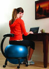 Balance Ball Rolling Desk Chair Back Slouch Spine Sit Work Posture Workout Seat