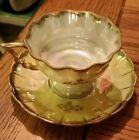 Vintage Fan Crest China Cup and Saucer Yellow Irredescent Hand Painted