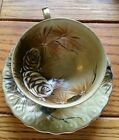Vintage Princess China Hand Painted Tea Cup and Saucer Pinecone Gold Brown
