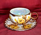 Royal Sealy Roses China  3 Circle legged Tea Cup and Reticulated Saucer, Japan