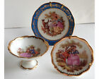 Limoges Porcelain Miniature Fragonard Group 2 Plates & Pedestal Bowl