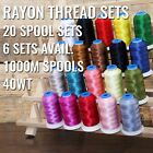 20 CONE RAYON MACHINE EMBROIDERY THREAD SETS 6 SETS AVAIL 1000M CONES 40WT