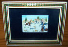 Antique Miniature Persian Painting of Hunting Scene on Horseback, Inlay Frame