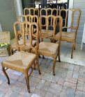 6 Antique French Dining Chairs Carved ~ Rush Seats ~ Oak Cabriole Legs ~Quality