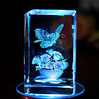 3D Laser Etched Crystal Paperweight Butterfly Flowers Figure Display Light Base