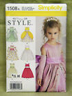 SIMPLICITY PATTERN 1508 GIRLS VINTAGE STYLE DRESSES SIZES 4,5,6,7,8  UNCUT