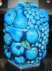 Vintage Inarco Blue Indigo Cobalt Fruit Design Cookie Jar Canister 1950 1960 Era