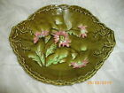 Antique Hand Painted Green Bowl with Porcelain Relief