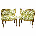 Pair Vintage French Style Hollywood Regency Gold Leaf Lounge Fireside Chairs
