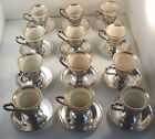 12 Demitasse Cups and Saucers. International Silver Sterling and Lenox Porcelai.