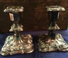 ANTIQUE  POOLE SILVER CO. SILVERPLATE PAIR OF CANDLE HOLDERS 5015 Old English