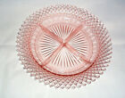 PINK DEPRESSION GLASS DIVIDED RELISH DISH 8.75