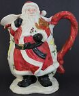 VTG 1987 Signed Fitz & Floyd Porcelain Christmas Santa & Teddy Bear Pitcher