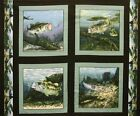 4 Fish Lunkers Largemouths Pillow Panels Fabric 100% Cotton Wildlife