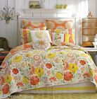 DENA Meadow Floral QUEEN QUILT 5p SET SHAMS Coral Orange Yellow White EMBROIDERY