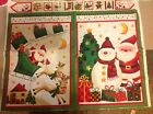 Santa snowman reindeer Panels / wall hanging fabric panel with 8 tiny squares