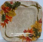 222 Fifth Autumn Celebration Pattern Square Dinner Plates - Set Of 4 - New