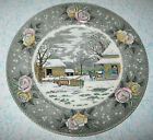 Adams China Currier Ives Amercian Ways Dinner Plate Thanksgiving Winter Snow