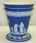 Antique Wedgwood Dark Blue Dip Jasper Ware Footed Trumpet Vase w/ Flower Frog