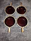 4 Monmouth Brown Drip Soup Chili Bowls with handle Maple leaf USA