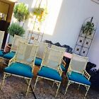 Faux bamboo vintage Cane Chinese Chippendale dining set Hollywood Regency