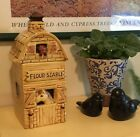 COOKIE JAR Vintage Barn Stable Farm Horse Puppy Snack Biscuits Flour Dog Treats