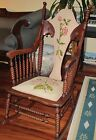 Antique Wood Turning Rocking Arm Chair Rocker Spindle Back Carved Brocade Fabric